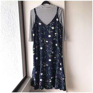 Brand new korean midi navy floral pinafore outer dress (inner piece not included)