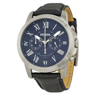 GRANT CHRONOGRAPH BLUE DIAL BLACK LEATHER MEN'S WATCH FS4990