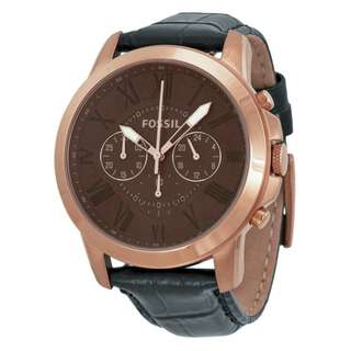 GRANT CHRONOGRAPH BROWN DIAL BLACK LEATHER MEN'S WATCH FS4992