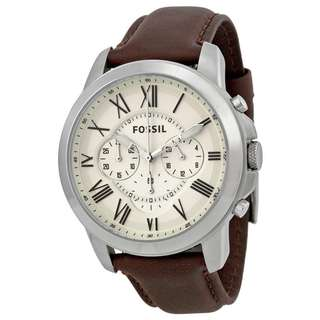 GRANT CHRONOGRAPH EGG SHELL DIAL BROWN LEATHER MEN'S WATCH FS4735