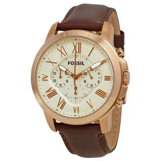 GRANT CHRONOGRAPH EGGSHELL DIAL BROWN LEATHER MEN'S WATCH FS4991