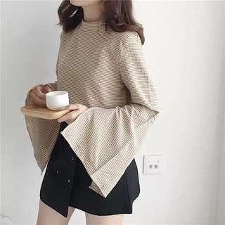 PLUS SIZE INSTOCK Light coffee colour slit sleeve blouse