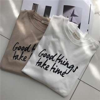 Good things 字母印花Tee
