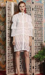 Soeurs white puff sleeves lace dress