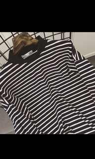 Stripe ulzzang pullover sweater turtleneck