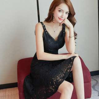 Flared Bottom Lace Dress