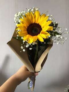 Single stalk Sunflower Graduation bouquet