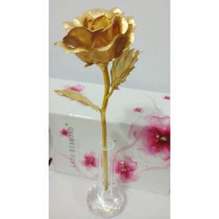 Mothers Day Gift 24K Gold Foil Rose Flower with Crystal-Clear Vase