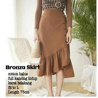 Rok midi Bronza skirt ruffle skirt rok polos rok bahan katun rok kerja