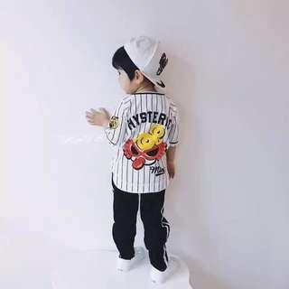 🚚 全新 兒童 棒球衣 潮牌娃娃 老虎 阪神虎 條紋 短袖上衣