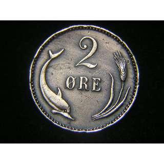 1899年丹麥王國(Kingdom of Denmark)丹皇克里斯仁九世徽海豚麥穗2奧里銅幣