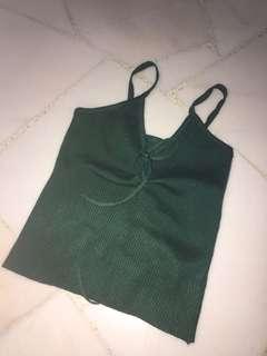 Green Lace Spaghetti Top