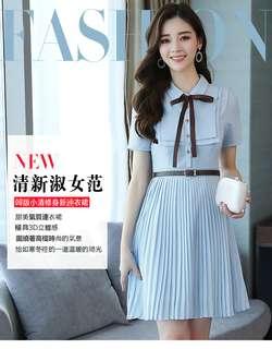 🚚 2018韓版時尚潮流連衣裙夏季女裝新款 修身氣質蝴蝶結襯衫百褶裙洋裝