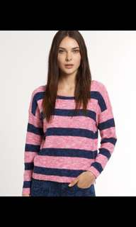 Superdry pink/navy striped knitted