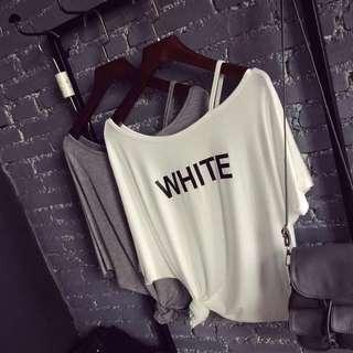 🚚 垂感 莫代爾短袖T恤女夏裝 露肩上衣 韓版字母印花寬松半袖體恤潮 預購