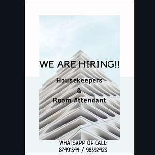HIRING: Housekeepers / Room Attendants