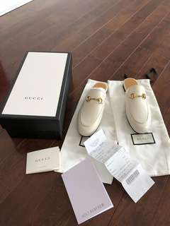 Gucci White Princetown Loafers