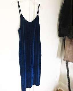 Fashion Nova Velvet Blue Dress Fitted