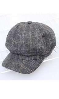 Grey Flat Newsboy Cap Hat