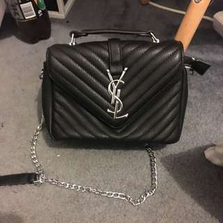 YSL Black Quilted College Bag