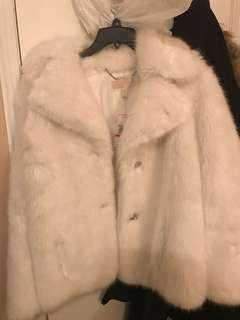 Michael Kors White Faux Fur Coat