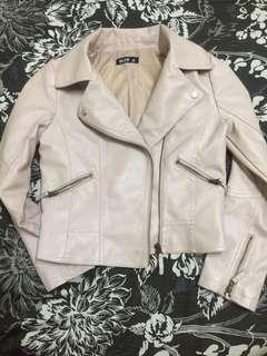 🚚 裸粉色優質皮革外套M