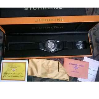 Stuhrling Original Men's 879.01 Leisure Sniper Transparent Swiss Quartz Black Rubber Strap Watch