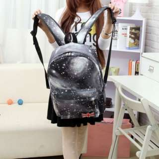 [PO487]Starry Canvas Backpack Large Capacity Zipper Bags