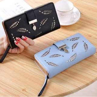 [PO491]Lady's Purse With Hollow Leaves Coin Cards Phone Holder Fashion Wallet