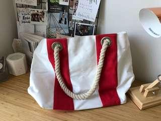 Red & White Stripe Large Camvas Beach Bag / Tote