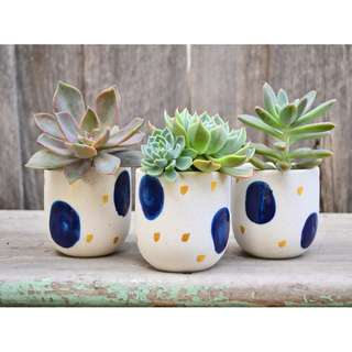 Set of Three Handmade Blue and Gold Speckled Planters