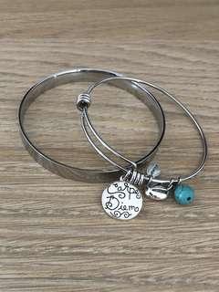 2x silver Inspirational Bracelets