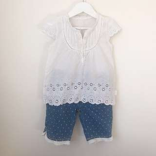 Embroidered top + denim shorts size 4