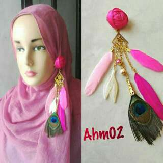Anting bros hijab bulu merak