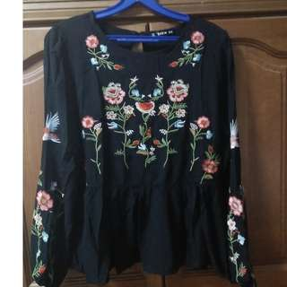 Women's Top - black top with flower detailing
