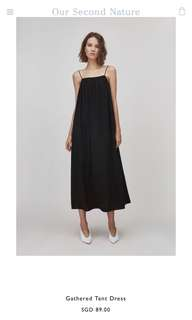 Our Second Nature Gathered Tent Maxi Long Black Dress