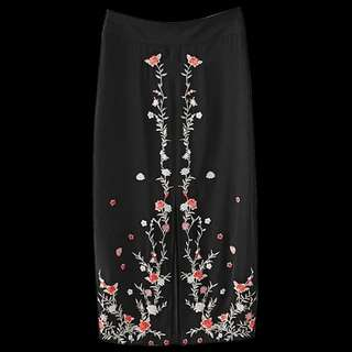 Floral Embroidered A-Line Skirt TG