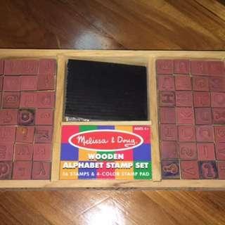 Melissa & Doug Wooden Alphabet Stamp Set