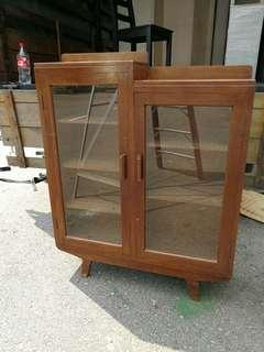 Burmese teak , Vintage A leg dosplay cabinet