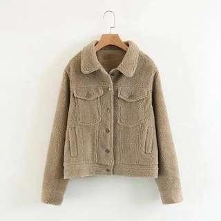 Khaki wool bomber jacket