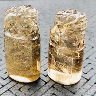 天然精品金髮晶貔貅招財擺件、印章料➕懸浮展示盒