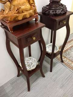Pair of Quality Teak Wood Stands