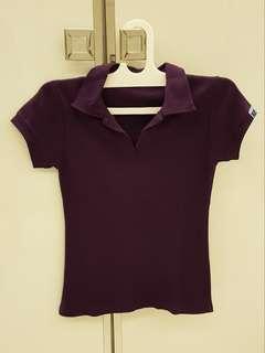 Kaos Berkerah Polo T-Shirt Ungu Tua