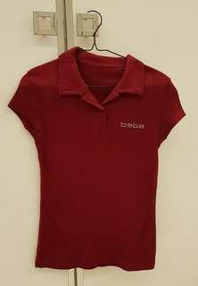 Kaos merk BEBE T-Shirt polo Merah Maroon