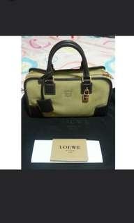 Almost New Authentic Loewe Amazona 28 Handbag (Gold Suede/Brown)