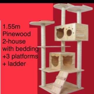 (NEW!) Tall Pinewood cat condo house tree pole bed