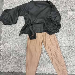 👕Francesca ribbon-black 👖Basic pleats pants-mocca
