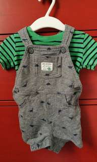Carter's dino tshirt and overalls