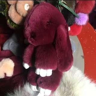 Keychain - Real Rabbit Fur Size 30cm Wine Red Colour 2pcs