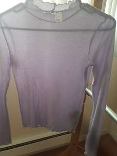 H&M Purple Ruffled Mock Neck Top
